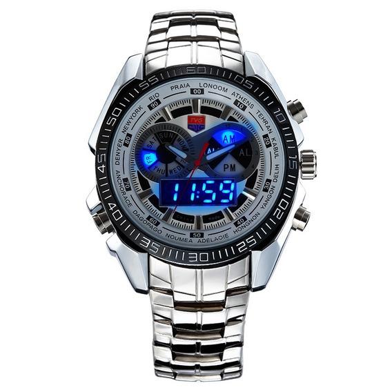 Relógio Masculino Tvg Km-468 Led Dual Time Militar Ana-digi
