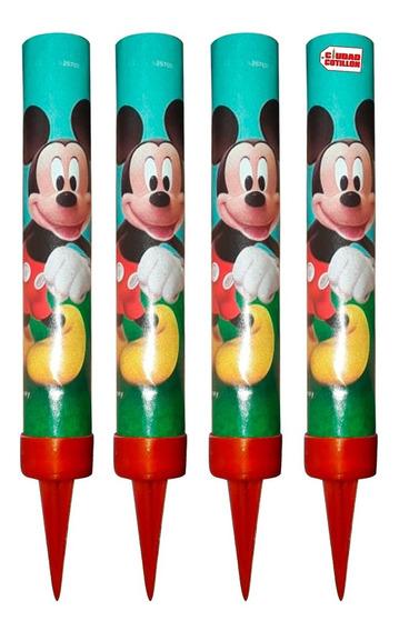 Velitas Bengalas Mickey Mouse Tortas Pack 4 Ciudad Cotillón