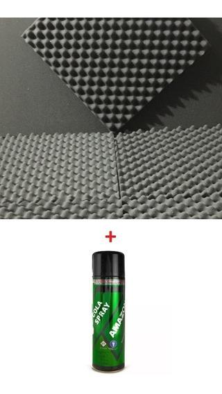 Espuma Acustica Kit 40 Placas 50 X 50 X 2 Cm + Cola Spray