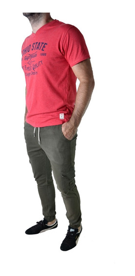 Pantalon Cargo Jogger Verde Marron Hombre The Big Shop
