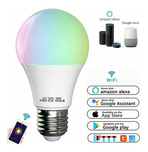 Lampara Smart E27 Led Multicolor 10w Wi-fi Rgb Android Nuevo