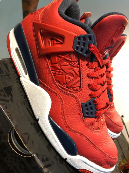 Tênis Nike Air Jordan 4 Retro Fiba Gym Red Obsidian White .