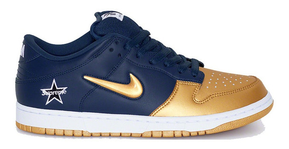 Tenis Nike Sb Dunk Low Jewel X Supreme Azul Dourado 41