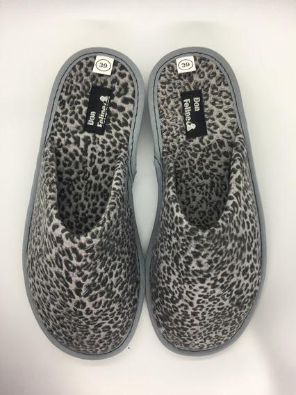 Pantufla Mujer Algodon Gris Animal Print Leopardo