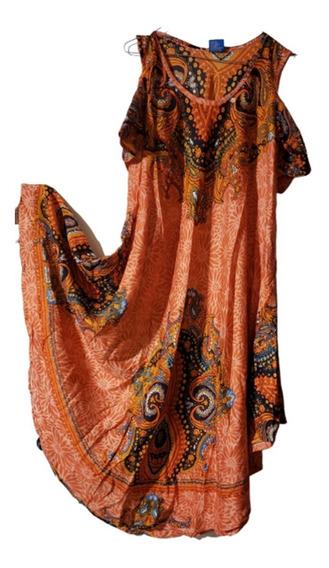 Vestido De Hindu Rayón Importado Con Mangas Cortas