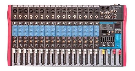 Mesa De Som Soundvoice 16 Canais Ms162 Eux C/ Efeitos Ms0061