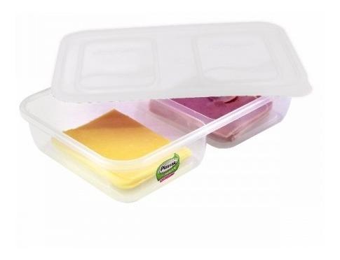 Kit 10 Potes Plastico 2 Divisorias Marmita