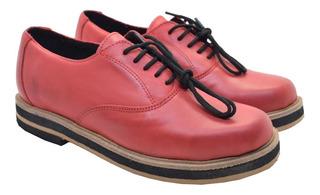 Zapatos Abotinados Cuero Livianos Suela Goma Mocasines Mujer