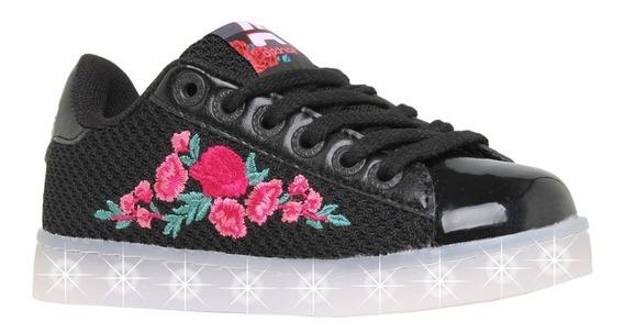 Zapatillas Addnice Luces Led Carga Usb Flores Mundo Manias