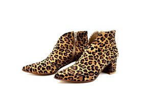 Zapato Botineta Clasico Cuero Vacuno Moda Mujer Taco Bajo