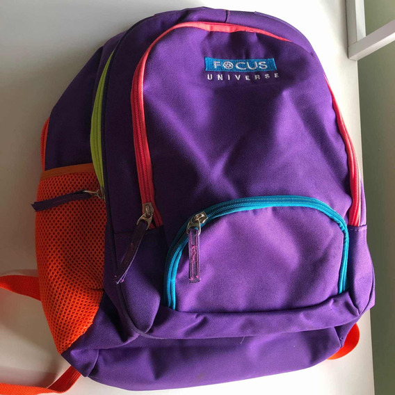 Mochila Escolar Violeta Oscuro Con Bordes De Colores
