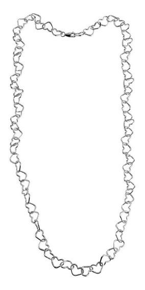Choker Colar Corrente Coração Entrelaçado Prata 925 40 Cm