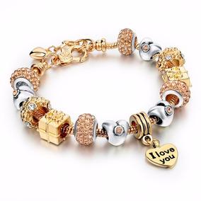 Pulseira Estilo Pandora Mulheres Super Luxo Encanto Coração