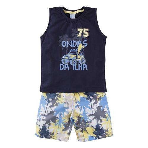 Roupa Infantil Conjunto Menino Camiseta Regata + Bermuda