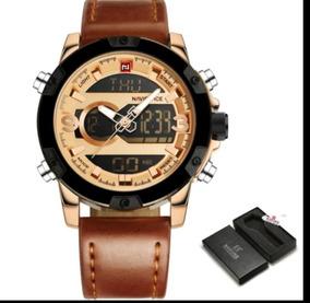 Relógio Naviforce Masculino Couro Marrom Com Dourado