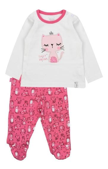 Pijama Bb Niña 2 Piezas Algodón Luna Crudo Ficcus