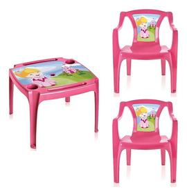 Mesa Mesinha Infantil Com 2 Cadeiras Princesas Menina Rosa S