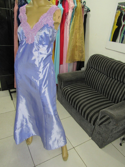 Vendo Vestido Lilás Tafetá C/tulle Bordado Tamanho 48