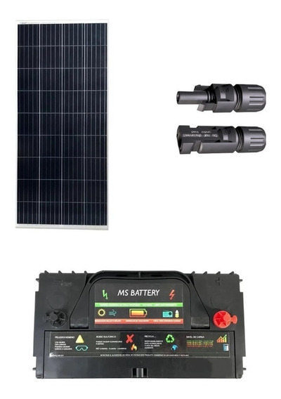 Kit Solar 100w Bateria 120 12v 120ah Conector Mc4