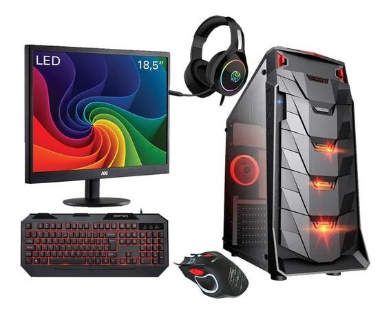 Pc Gamer Completo Amd, Monitor, Jogos, Trabalhos + Nota Fisc