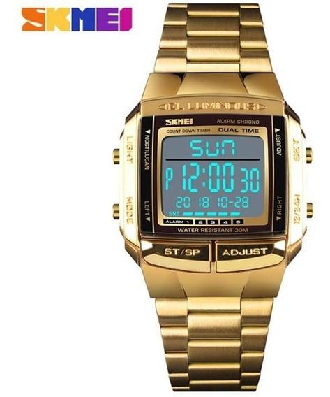Relógio Masculino Skmei Dourado 1381 De Aço Prova De Água Cronometro Calendário Alarme E Luz