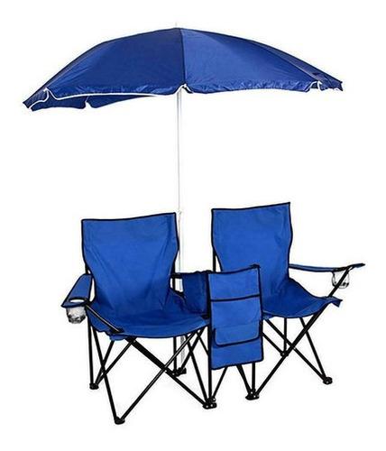 Imagen 1 de 4 de Sillas Plegables Dobles Con Paraguas Para Playa