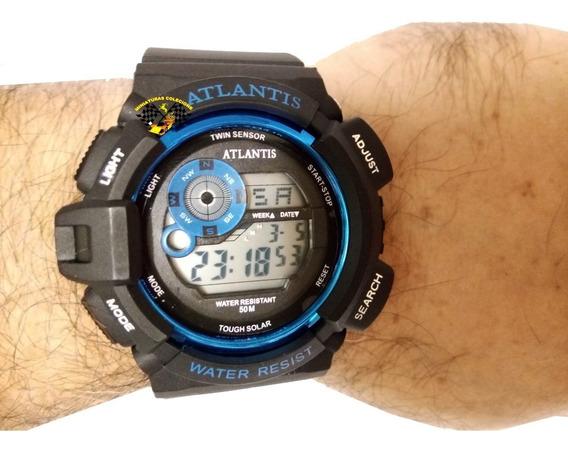 Relógio Masculino Esportivo Atlantis G7396 Azul Anadigi