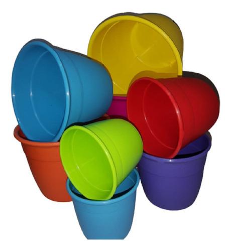 Pack X 5 Macetas Reforzadas 12 Cm Plastico Varios Colores