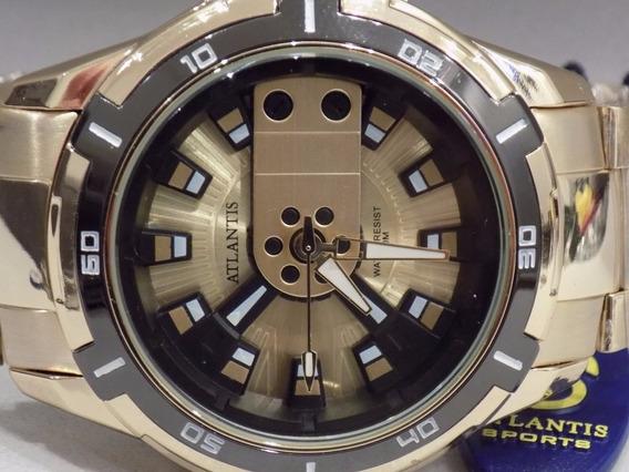 Relógio Original Atlantis Ck Dourado Masculino Frete Gratis