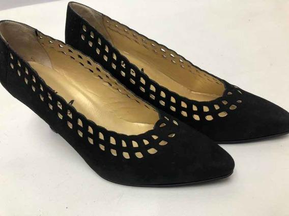 Zapatos Stilettos Alonso Nro 37 Gamuza Negros Excelentes