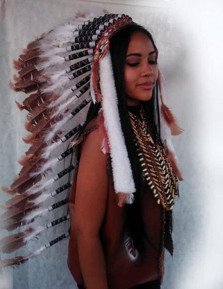 Cocar Indigena Ceremonialy+bolsa De Proteçao