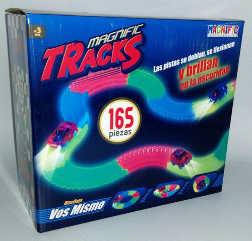 Pista Magnific Tracks Mediana 165 Pzas Autos Luminoso 90165