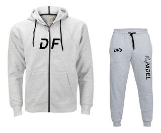 Campera Df Grande + Pantalon Padel Conjunto Gris Deportivo