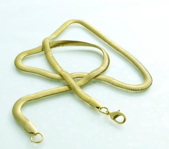 Corrente/cordão Pele Cobra Aço Cirúrgico Inox Banhado Ouro