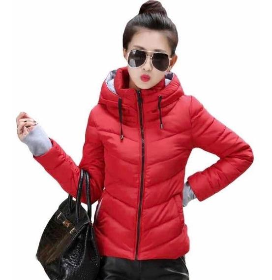 Chamarra Moda Asiática Roja Moda Otoño Invierno Calientita