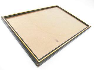 Marco Cuadro Frame Negro Dorado 42x31 Con Vidrio M8