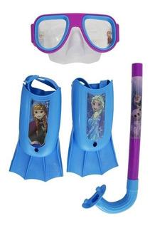 Kit Mergulho Infantil Criança Elsa E Anna Frozen Disney 3 Pe