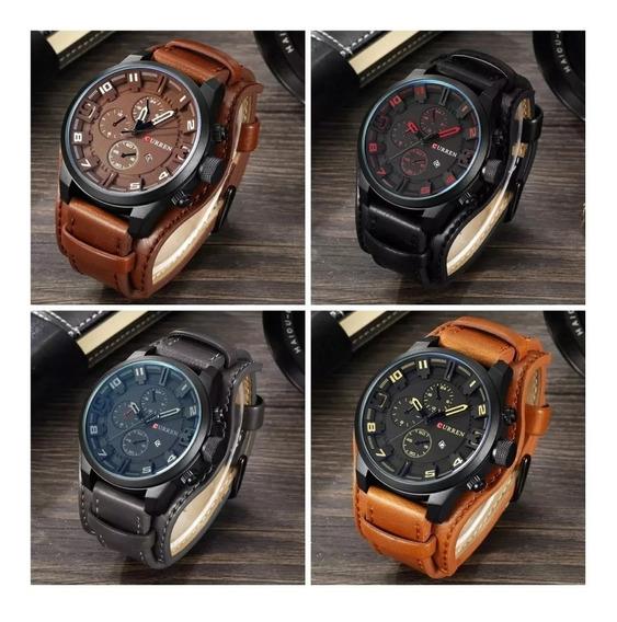 Relógio Masculino Curren Social Luxo Esportivo Top Couro