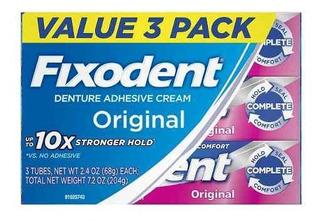 Pack 3 Fixodent - Adhesivo De Dentaduras Postizas