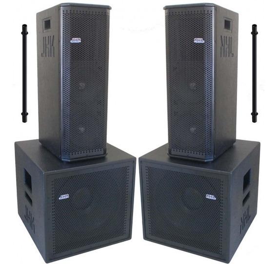 Caixas Ativa Passiva Som Profissional Sub 15 Line 2x8 3200w Sistema Sonorização Compacto De Alta Qualidade Potência Prof