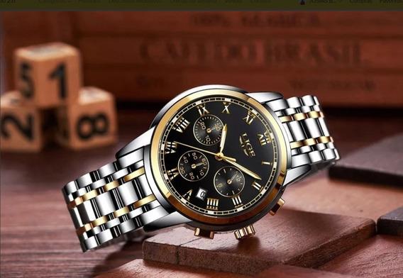 Relógio Masculino Lige 9810 Resistente À Água Original