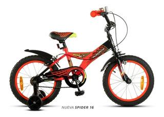 Bicicleta Aurora R16 Spider Varon Infantil Bmx Nene + Luz