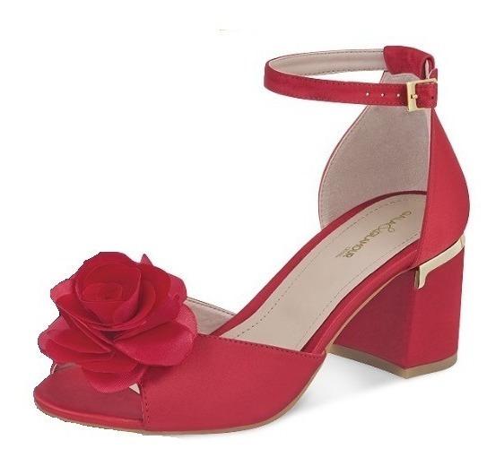 Zapatilla Dama Mujer Moda Satin Tacon 7cm Color Rojo Comodo