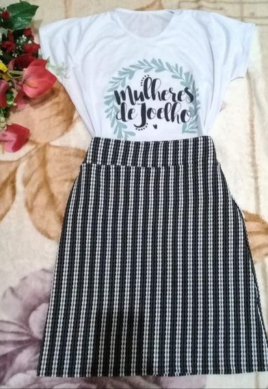 Conjunto De Saia Malha Canelada Blusa De Malha Tshirt