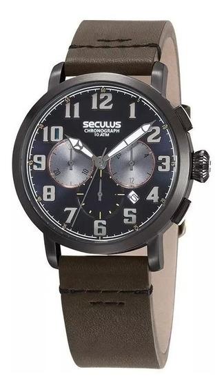 Relógio Seculus Masculino Ref: 13029gpsvsc4 Cronógrafo Black