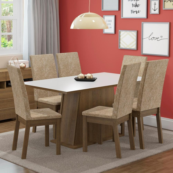 Sala De Jantar Madesa Thaís Mesa Tampo De Madeira 6 Cadeiras