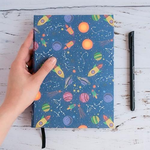Cuaderno Hecho A Mano Planetas 80 Hojas Lisas
