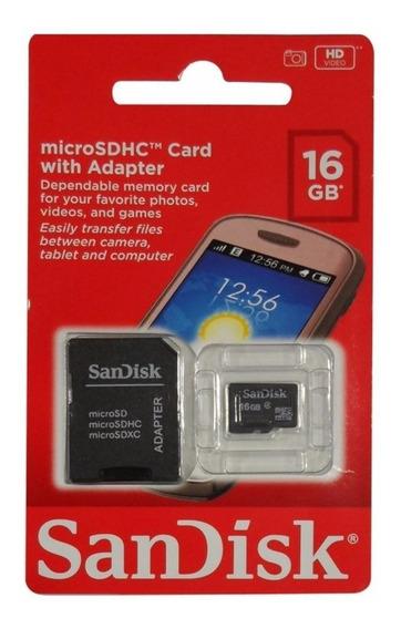 Cartão De Memória 16gb Sandisk Micro Sd 16 Gb Sdhc Com Adapt