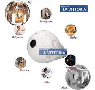 Foco Camara Espia 3d Panoramico Wifi 360 Grados