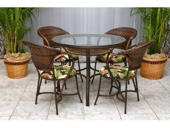Mesa De Cozinha Jardim Sala Em Fibra Sintética 4 Cadeiras
